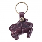 Piano Design Top Layer Cow Leather Key Ring Keychain - Brownish Red