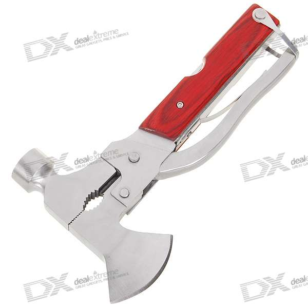 10-in-1 Stainless Steel Multi Tool Hammer (Wood Effect)