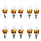 E14 3W LED Candle Bulbs Cold White Light 200lm 10-SMD 2835 - Silver + Golden (AC 100~240V / 10 PCS)