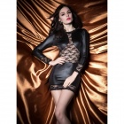 7046 Charming Lace Long Sleeve One-piece Dress - Black