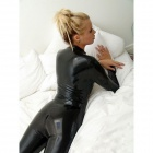 Women's Sexy Long-Sleeve Leather Uniform One-Piece Underwear - Black