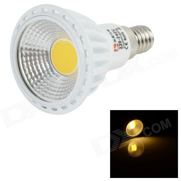 LeXing Lighting Dimmable E14 6W COB 400lm Warm White Bulb (220~240V)E14<br>Form  ColorWhite + YellowColor BINWarm WhiteModelLX-E14-COB-DIM-1MaterialCast aluminum + plasticQuantity1 DX.PCM.Model.AttributeModel.UnitPowerOthers,0~6WRated VoltageAC 220-240 DX.PCM.Model.AttributeModel.UnitConnector TypeE14Chip BrandOthers,N/AEmitter TypeCOBTotal Emitters1Theoretical Lumens0~450 DX.PCM.Model.AttributeModel.UnitActual Lumens0~400 DX.PCM.Model.AttributeModel.UnitColor Temperature12000K,Others,2700~3500KDimmableYesBeam Angle80 DX.PCM.Model.AttributeModel.UnitCertificationCE, RoHSPacking List1 x Spotlight<br>