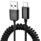 USB to Micro USB Charging Spring Cable - Black (280cm)