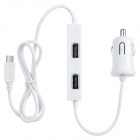 C-939 Universal 5-in-1 4-USB + 1-Micro USB Port Car Charger for Cellphone - White