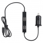 Max 3.1A / 5V 4-Port USB Output + Micro USB Fast Charging Smart Car Charger Power Adapter - Black