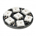 WS2812 5050 RGB 7-LED Round Lamp Development Board - Black