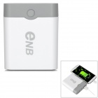 ENB Replaceable Battery Portable Power Bank Case - White + Gray (4 x 18650)