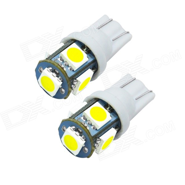 JIAWEN T10 5x5050 SMD 6500K 90lm White LED Bulb for Car (DC12V, 2PCS)