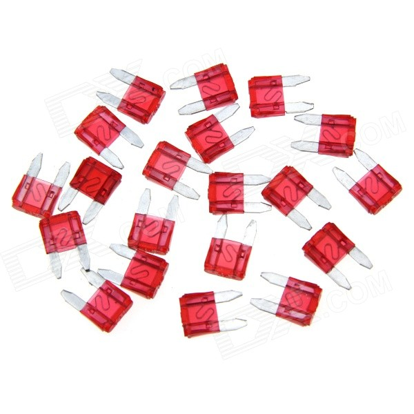 Car Vehical Self Control Easy Handle Mini Flat Plug Blade Fuses (20 PCS, S, 10A Red)