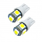 JIAWEN T10 5 x 5050 SMD 120lm 6500K White Light LED Bulb (DC 12V / 2 PCS)