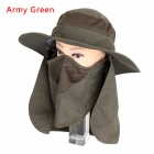 Unisex 360 Degree Sunproof Removable Outdoor Hiking Fishing Hat Cap - Army Green