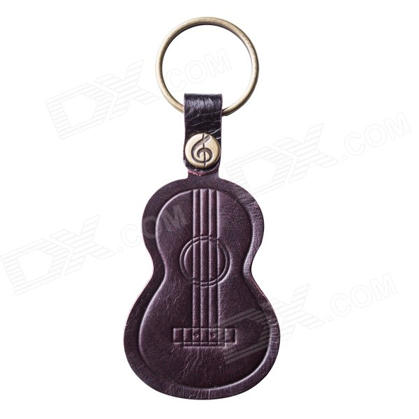 Ukulele Shaped Top-grain Leather Keychain - Brownish Red + Bronze