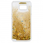 Mini Smile Flowing Sand Style ABS Back Case for Samsung Galaxy S6 / G9200 - Golden + Transparent