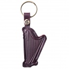 MG-57A Harp Design Top Layer Cow Leather Key Ring Keychain - Brownish Red