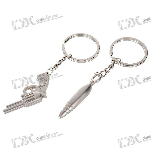 Gun and Bullet Shaped Zinc Alloy Lovers Keychains (2-Piece Set)