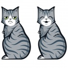 XM0001-10 Moving Tail Happy Grumpy Cat Car Stickers Decals - Grey (2 PCS)