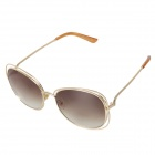 S950 Stylish Women's UV400 Protection Round Alloy Frame PC Lens Sunglasses - Golden + Tan