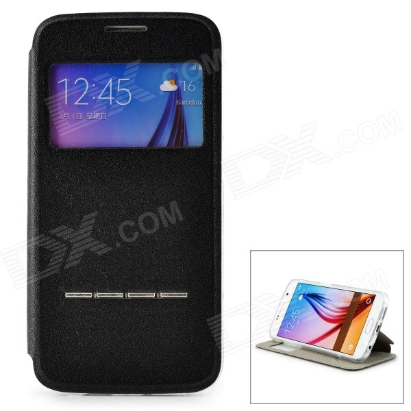 Protective PU Leather + TPU Holder Case w/ Touch Answer Function for Samsung Galaxy S6 - Black