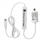 Micro USB Car Charger + USB 2.0 4-Port Hub for IPHONE / Samsung + More - White