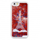 Mini Smile Dynamic 3D Eiffel Tower Liquid Quicksand Back Case for IPHONE 6 - Red + Transparent