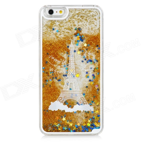 Mini sourire eiffel tower liquid quicksand étui pour IPHONE 6 PLUS - or