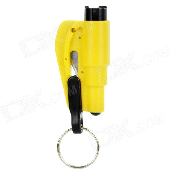 3-in-1 Emergency Car Safety Hammer + Belt Cutter + Keyring - YellowEmergency or Safety Kits<br>Form ColorYellowModelN/AQuantity1 DX.PCM.Model.AttributeModel.UnitMaterialMetal + ABSFunctionsafety hammer,safety belt cutter-knifeLED QuantityNoPower SupplyNoPacking List1 x Hammer<br>