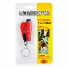 3-in-1 Emergency Car Safety Hammer + Belt Cutter + Keyring - Red