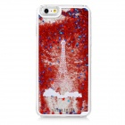 Mini Smile 3D Effect Eiffel Tower Liquid Quicksand Back Case for IPHONE 6 PLUS - Red + Transparent