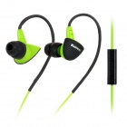Kanen SPORT-S30 Stylish Sports In-Ear Ear Hook Headphones w/ Microphone - Green + Black
