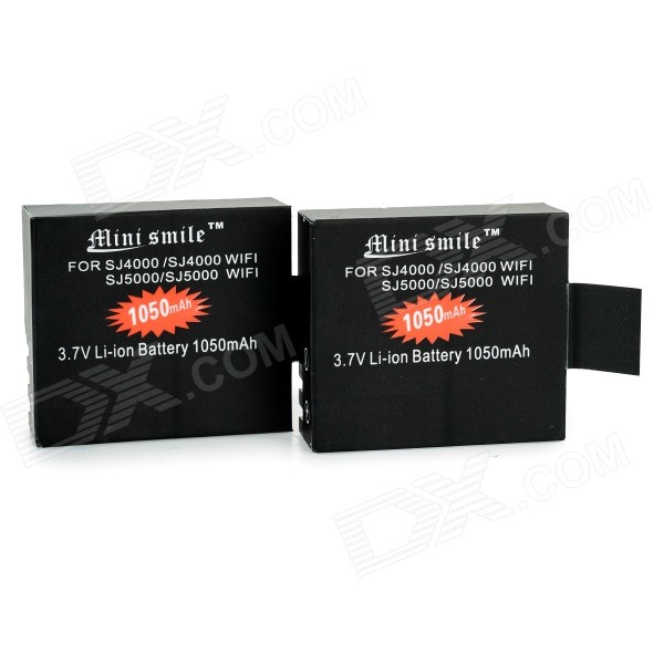 Mini Smile 1050mAh Li-ion Battery for SJ5000 / SJ5000 Wi-Fi / SJ4000 Wi-Fi / SJ4000 (2pcs)