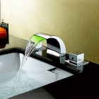 PHASAT Color Changing LED Waterfall Bathroom Sink Faucet - Silver