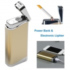 Rechargeable 5800mAh Power Bank Electronic Lighter Windproof Cigarette Lighter - Gold + Silver