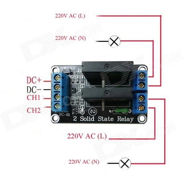 ZnDiyBRY 2Channel 5V Solid State Relay Module w Fuse Blue