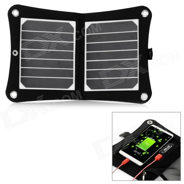 Ultra-Light 7W Solar Panel Powered Quick-Charging Charger - Black