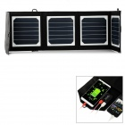 14W Portable Foldable Solar Power Charging Panel w/ USB 2.0 / USB 3.0 - Black + White