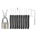 Transparent Lock + 10-Piece Lockpick Training Tool Set - Black + Translucent