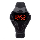 MAIKOU W01 Fashionable TPU Wrist Band Red Light LED Digital Watch - Black + Red (1 x CR2016)