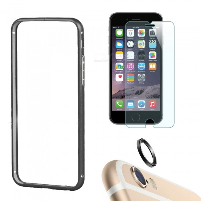 Bumper Case + Tempered Glass Film + Lens Ring for IPHONE 6 - Black