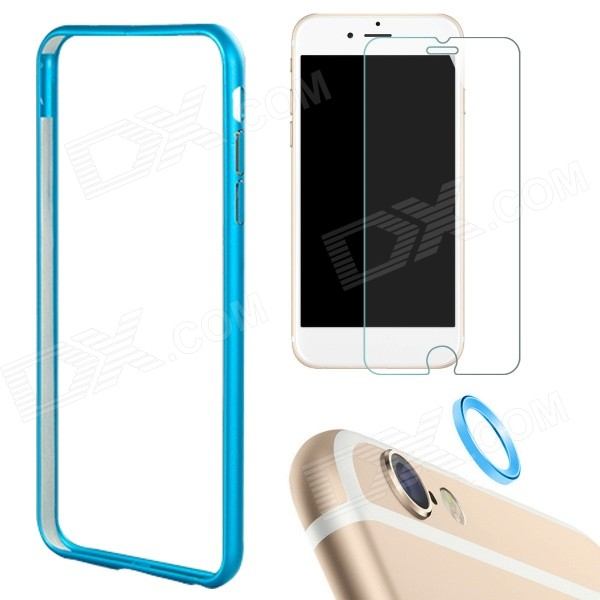 Bumper Case + Tempered Glass Film + Lens Guard Ring for IPHONE6 - BlueMetal Cases<br>Form ColorBlueQuantity1 DX.PCM.Model.AttributeModel.UnitMaterialAluminum alloy + tempered glassCompatible ModelsIPHONE 6StyleBumper CasesPacking List1 x Bumper frame1 x Tempered glass screen protector1 x Lens guard ring<br>
