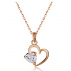 Women's Trendy Heart-shaped Zircon Inlaid Necklace - Rose Gold