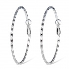Xinguang Stylish Women's Spiral Pattern Hoop Earrings - Silver (Pair)