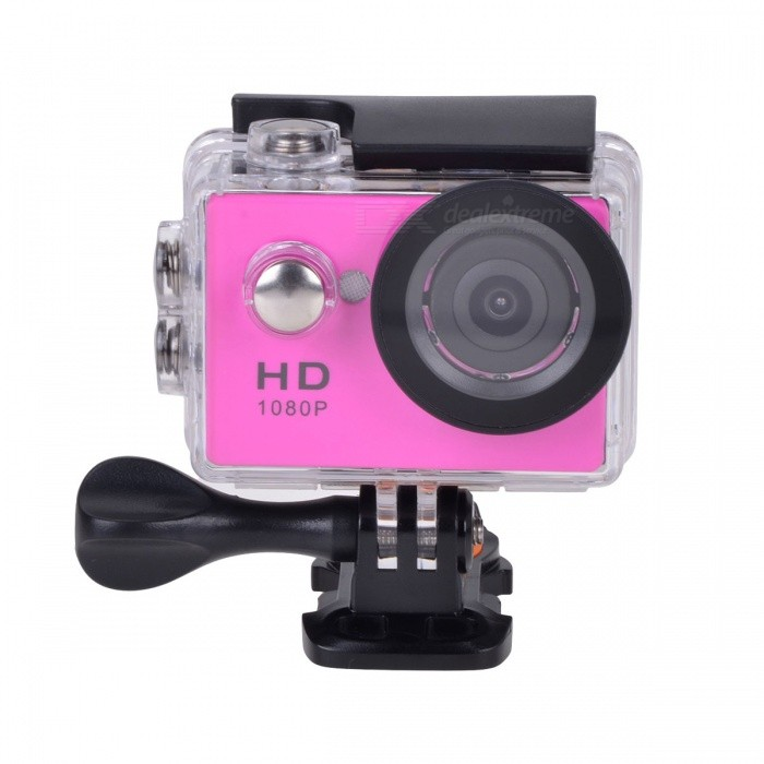"EOSCN HD1080P 2"" LCD Waterproof Sports Camera 5.0MP Camcorder - Pink"