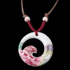 G.ERIMON TCXL006 Chic Hollow-out Peony Ceramic Pendant Necklace - White + Red