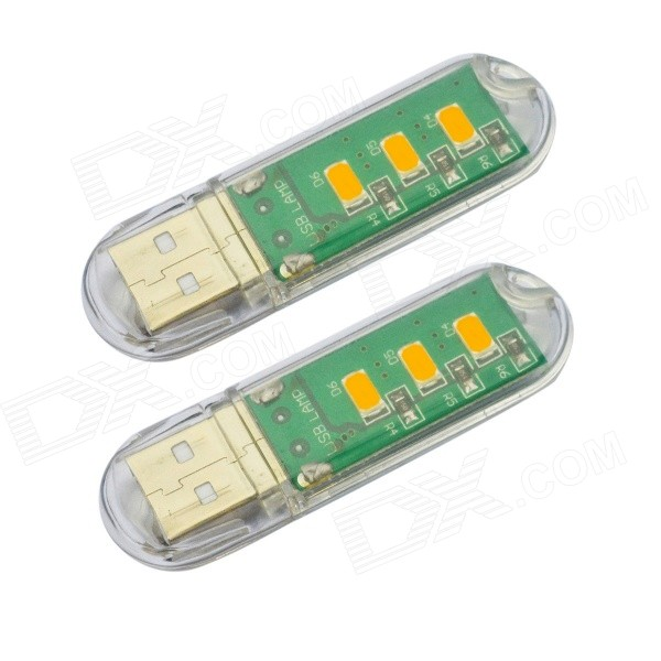 JIAWEN USB 1.7W 136lm 3-SMD 5730 Warm White USB Lamp (DC 5V / 2PCS )