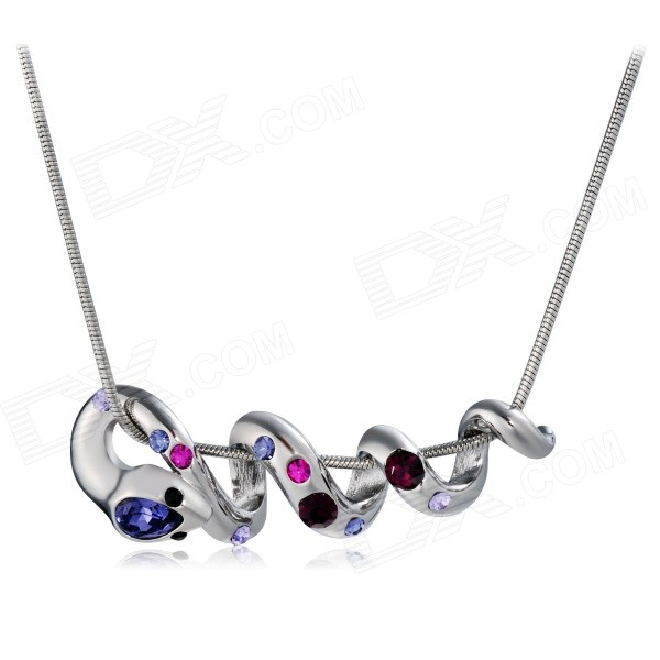 Xinguang Snake Shaped Rhinestones Decorated Necklace for Women - Silver