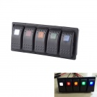 5-in-1 Car Yacht Modified Five-Light Rocker Reset Switches Panel Switches for Car Yacht Motorcycle