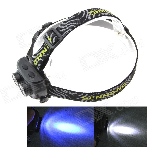 A09 2-LED 80lm 1-Mode Blue + White Light Fishing Headlamp