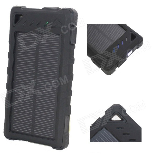 """8000mAh"" Battery Dual USB Solar Power Bank w/ LED, Flashlight - Black"