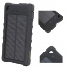 """8000mAh"" Solar Powered Dual USB Li-ion Polymer Battery Power Bank w/ LED / Flashlight - Black"