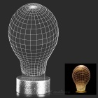 FineSource 3D Lamp Bulb Pattern 500lm Warm White LED Atmosphere Lamp - Black + Transparent + Silver
